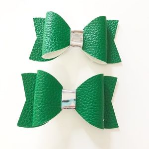 Green leather bows